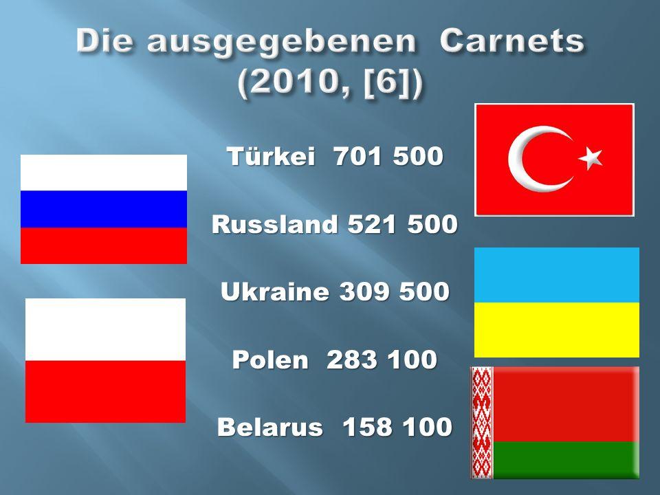 Die ausgegebenen Carnets (2010, [6])